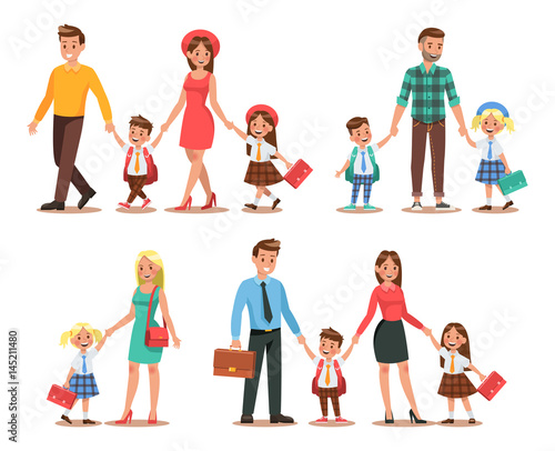 Fototapeta Family lifestyle. Parents take their children to the school in the morning. Happy kids go to school.