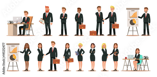 Fridge magnet Set of business characters working in office. Vector illustration design No.5