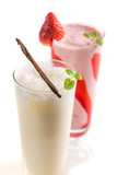 Closeup of strawberry and vanilla smoothies on white background