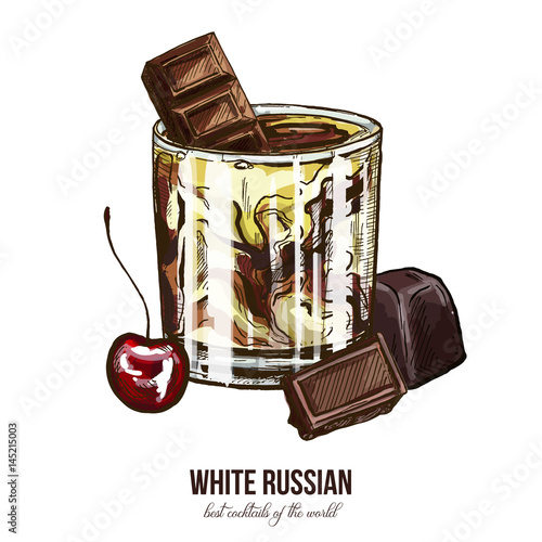 White Russian cocktail with cherry and chocolate