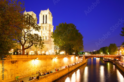 Notre Dame de Paris and Seine Poster