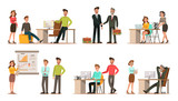 Set of business characters working in office. Vector illustration design No.6 - 145215228