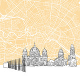 Fototapeta Berlin Germany Skyline Map