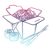 Vector illustration of an Asian restaurant opened to take out a box filled with noodles, shrimp, sushi and chopsticks. - 145215814