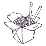 Vector illustration of a Chinese restaurant opened to take out a box filled with noodles, shrimps and chopsticks. - 145215833