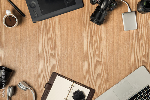 Work space for photographer, graphic designer Poster
