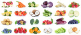 Obst und Gemüse Früchte Sammlung Äpfel, Orangen Trauben Essen Freisteller