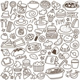 Set of Cute Food Doodle. Black and White.