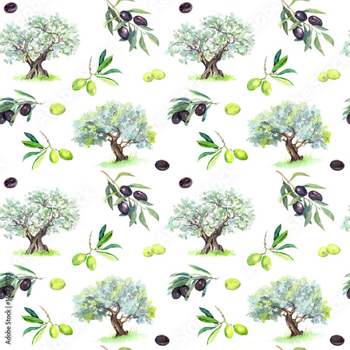Olive branches, trees - olives seamless pattern. Watercolor - 145228021