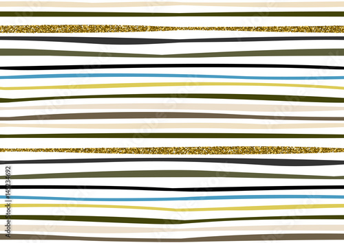 Vector seamless pattern with hand drawn gold glitter textured brush strokes and stripes hand painted. - 145234692