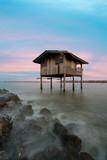 Old house at seashore in Samutsakorn province, center of Thailand.
