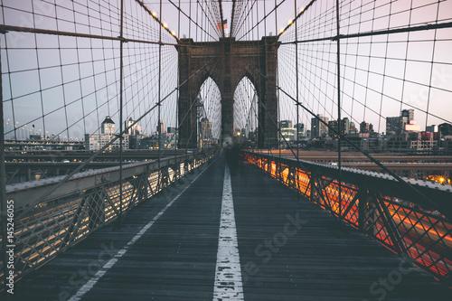 Traffic on Brooklyn Bridge - New York Poster