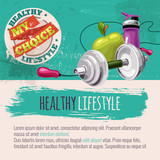 Template with sports equipment and healthy food. Diet and sport. Healthy lifestyle my choice - 145247219