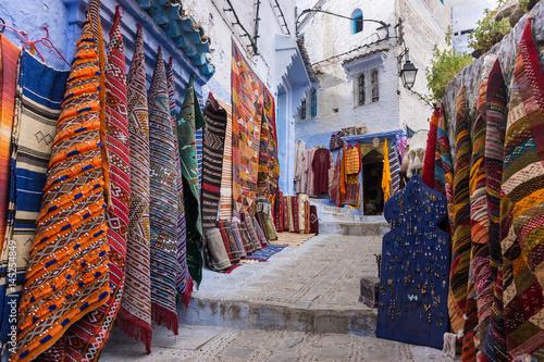 Papiers peints Maroc Magasin de tapis à Chefchaouen, Maroc