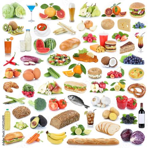 Sammlung Essen gesunde Ernährung Obst und Gemüse Früchte Lebensmittel Freisteller