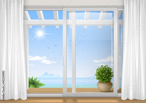 Sliding window of the hotel. View of the tropical bay. Resort. Vector graphics - 145261480