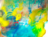 Abstraction from multi-colored ink, paint in water - 145263607