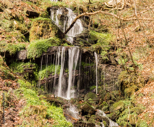 Waterfalls during sprintime  at Hardcastle Crags, Hebden Bridge, Yorkshire, UK - 145266414