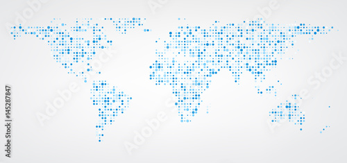 Canvas Wereldkaarten World map of blue dots background.