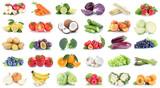 Obst und Gemüse Früchte Sammlung Äpfel, Orangen Trauben Bananen Essen Freisteller