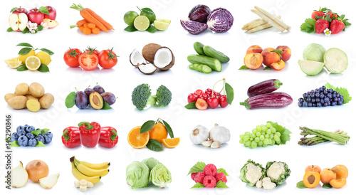 Foto Murales Obst und Gemüse Früchte Sammlung Äpfel, Orangen Trauben Bananen Essen Freisteller