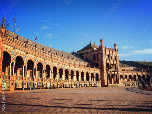 Standing before the Pavilion of the Plaza de Espana, Seville, Andalusia, Spain