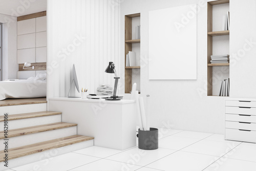 Plagát Home office in bedroom, side