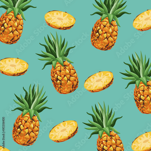 pineapple fruit fresh seamless pattern design vector illustration eps 10 - 145306400