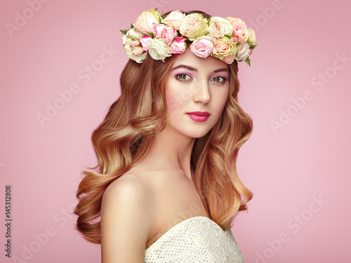Plakat Beautiful blonde woman with flower wreath on her head