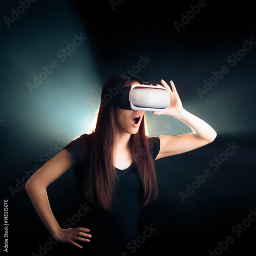 Poster Woman with VR Glasses Headset Enjoying the Virtual Reality Experience