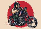man riding a chopper motorcycle