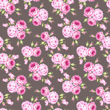 Seamless floral pattern with pink roses and leaves - 145326869