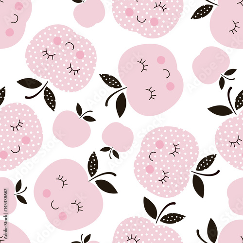 Seamless pattern with abstract  smiling apples - 145339662