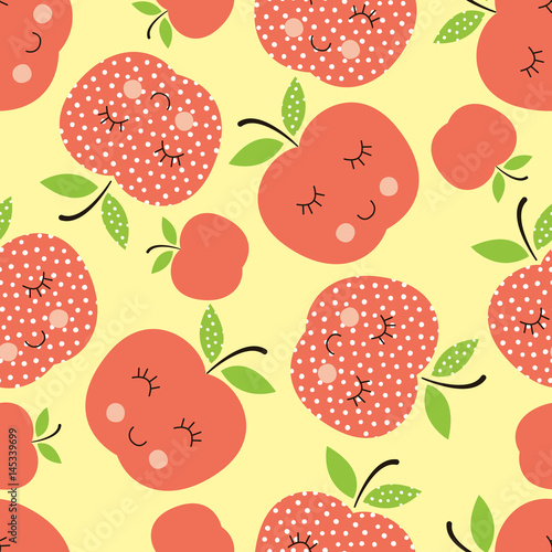 Seamless pattern with abstract  smiling apples - 145339699