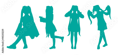 silhouette twin tale woman vector - 145351239