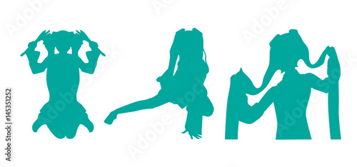 silhouette twin tale woman vector - 145351252