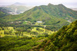 View over Pali Lookout towards Kaneohe Bay, Oahu, Hawaii
