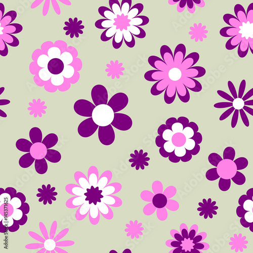 Childish seamless flower pattern, vector