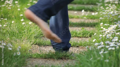 Walking in The Grass Barefoot