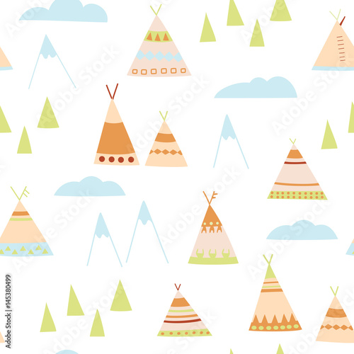Cartoon wigwams seamless pattern. Native American wigwams, trees, mountains, clouds. Perfect for children's design - 145380499