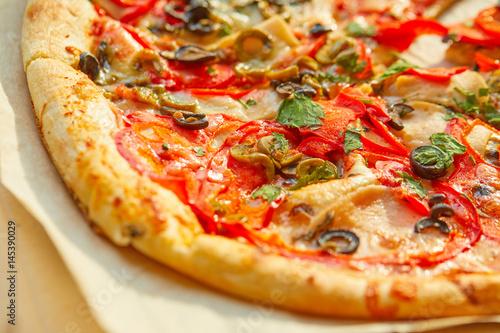 Pizza sweet pepper olives tomato Poster
