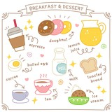 Set of Cute Breakfast and Dessert Doodle