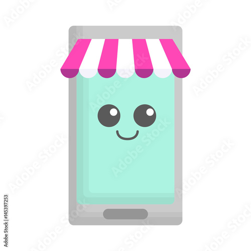 kawaii smartphone icon over white background. vector illustration - 145397253