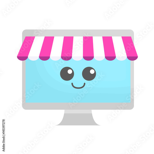 kawaii computer icon over white background. colorful design. vector illustration - 145397278