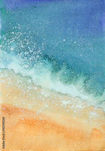 watercolor sea beach © dvoriankin