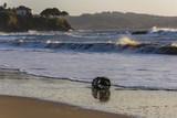 Nasa de pesca en la playa de Perbes (La Coruña, España).