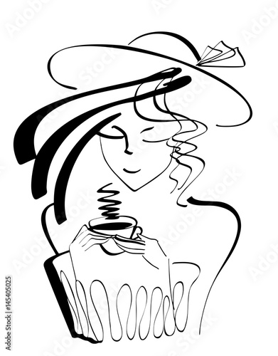 Vector portrait silhouette of woman drinking cup of coffee with hat and hairstyle. Logo design for poster or banner, isolated illustration in black color on the white background © Iryna