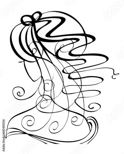 Vector portrait silhouette of woman hairstyle with long curvy hair. Logo design for poster or banner, isolated illustration in black color on the white background © Iryna