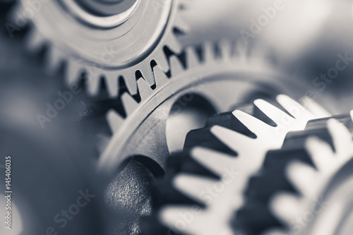 engine gear wheels, industrial background Poster