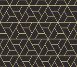 Seamless antique palette black and gold isometric revolving triangles outline pattern vector - 145408094